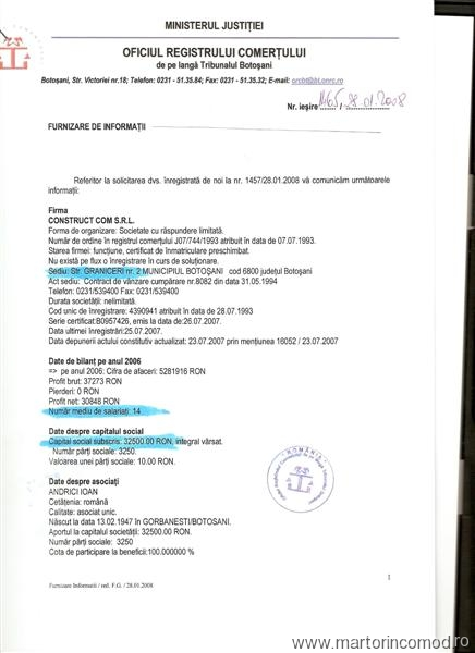 document Registrul Comertului