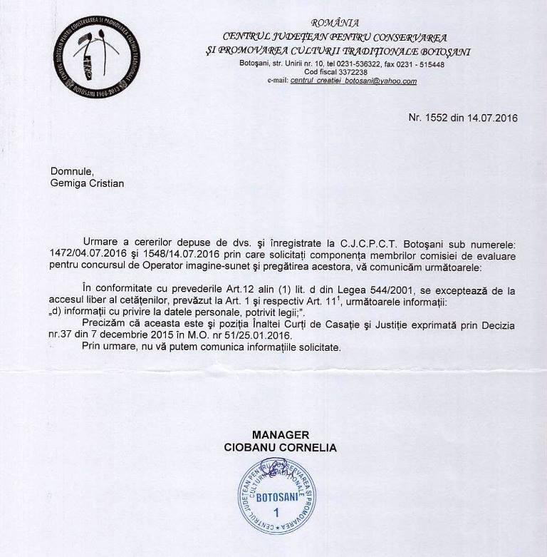 concurs operator CJCPCT Botosani